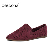 BESCONE Fashion Shallow Round Toe Women Flats New Casual 1 cm Low Heel Slip-On Shoes Basic Outside Comfortable Ladies BY24