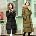 X-long women's winter down jacket large real raccoon dog fur  white duck down jackets women thickening warm parkas hooded coats