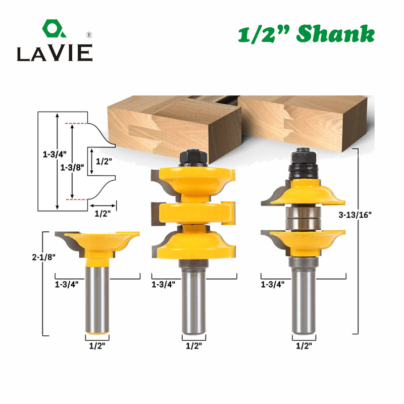 LAVIE 3pcs 12mm 12.7mm Shank Entry Interior Tenon Door Router Bit Set Ogee Matched R&S Router Bits Carving For Wood MC03077