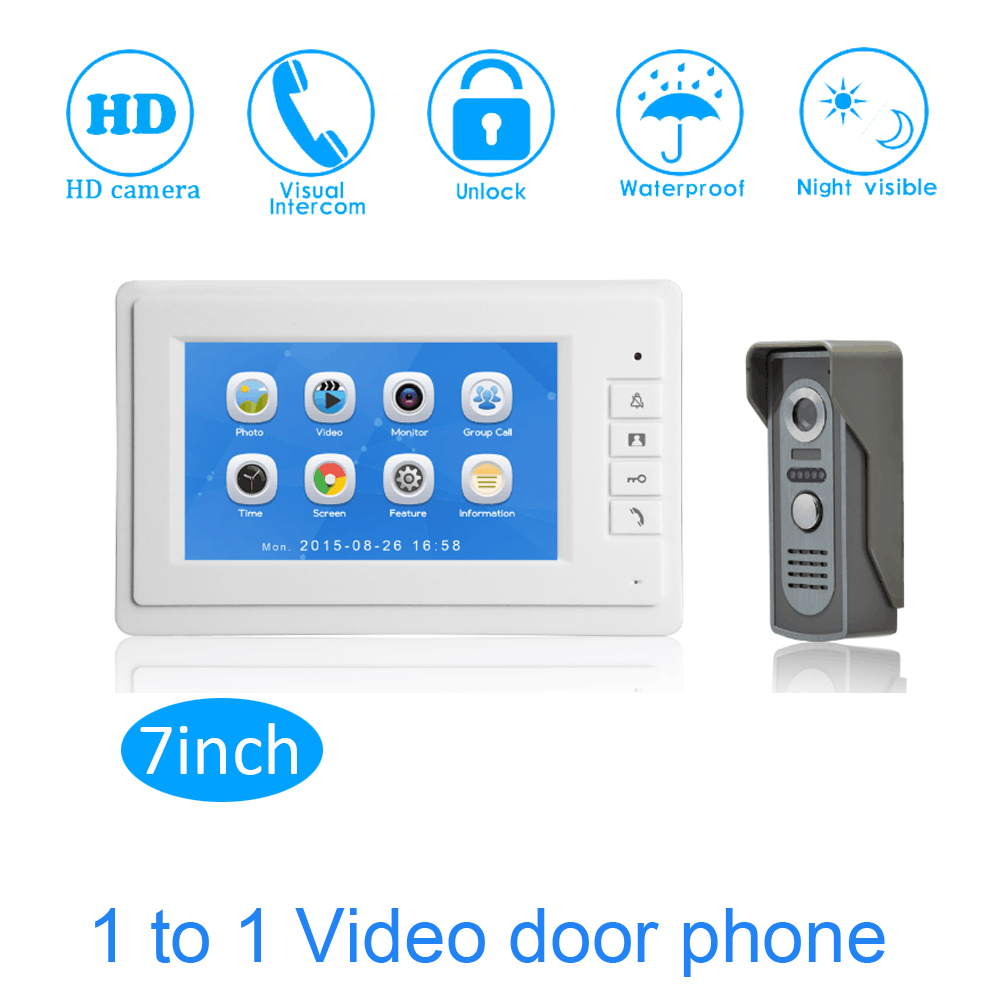 7 Touch Screen Color Display TFT-LCD Smart Home Access control system Video door phone Video intercom system talk-back7 Touch Screen Color Display TFT-LCD Smart Home Access control system Video door phone Video intercom system talk-back