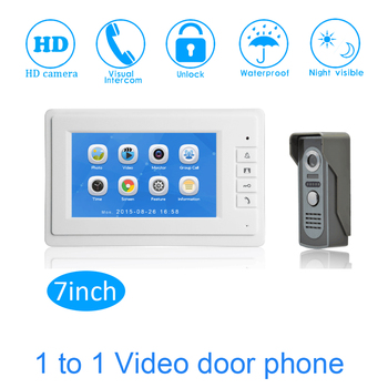 "7"" Touch Screen Color Display TFT-LCD Smart Home Access control system Video door phone Video intercom system talk-back"