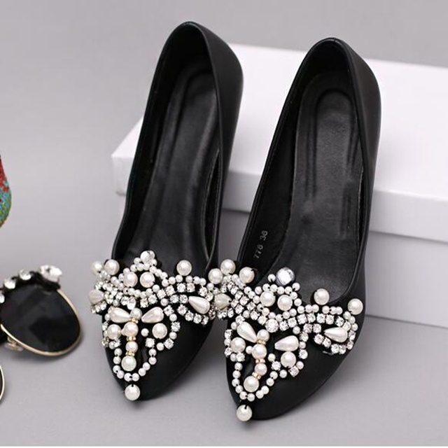 63fa55aa465 US $46.0 |Sexy Wedding Bride Shoes Womens Ladies Pearl Diamond Ankle Strap  Pointed toe Stiletto High Heels Faux Suede Sandals Pumps Black-in Women's  ...