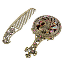 2 Pcs/set Bronze Openwork Comb Mirror Set Retro Palace Style Cosmetic Hairbrush Mirror Dressing Table Styling Tools Gift Set