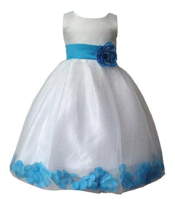 2017 WEIß Blau Lila Rose Blütenblatt Kinder Mädchen Kleid Hochzeit ...