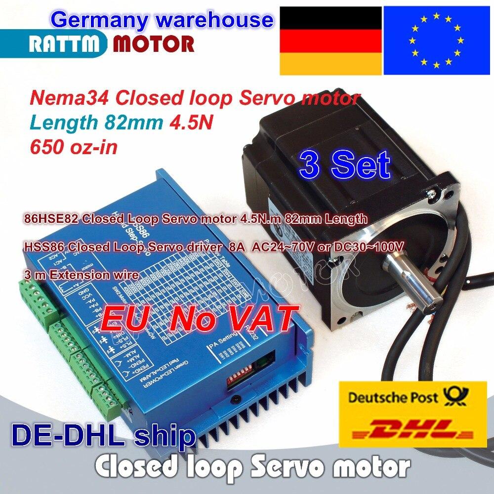 DE livraison 3 ensembles Nema34 4.5N.m En Boucle Fermée Servo moteur Moteur Kits 82mm 6A & HSS86 Hybride Étape- servo Pilote 8A CNC Contrôleur Kit