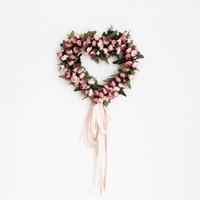 Heart Rose Wreath Door Wall Hanging Wedding Car Decoration Silk Ribbon Artificial Garland Home Decor Household Adornment
