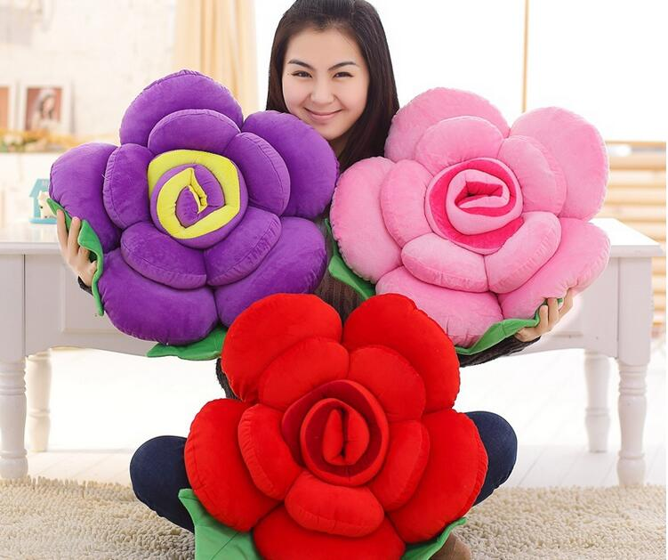 Multi-color Rose Cushion Soft Decorative Sofa Throw Pillow Creative Flower Head Neck Rest Pillow Chair Cushion Bedding Pillow