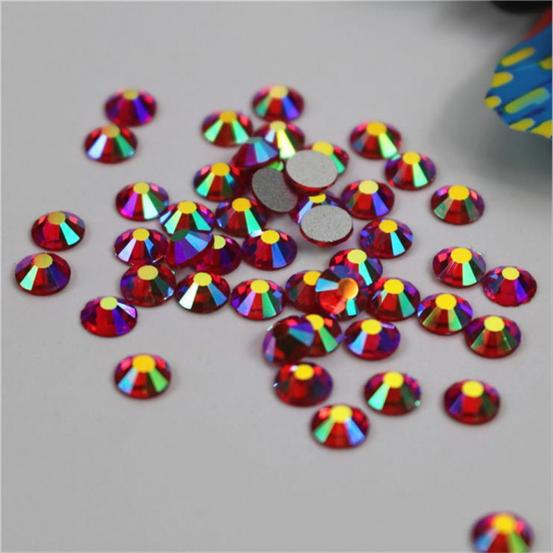 SS3-SS34 Red Light Siam AB Non Hotfix Glass Crystal Flatback Rhinestones Nail Rhinestones For Nails 3D Nail Art Decoration Gems super shiny 5000p ss16 4mm crystal clear ab non hotfix rhinestones for 3d nail art decoration flatback rhinestones diy