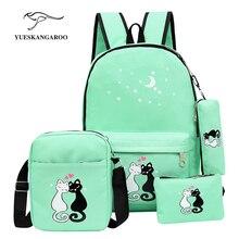 Известный бренд 4 шт./компл. Для женщин Рюкзаки милый кот Школьные сумки для подростков Обувь для девочек Печать на холсте Рюкзаки дамы Сумки на плечо