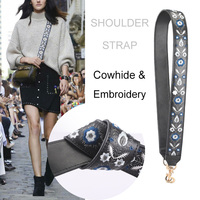 2018 New DIY Handbag Strap Genuine Leather embroidery Ladies Crossbody Bag Belts Replaceable Long Wide Shoulder Straps Hook
