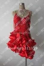 Free shipping 100 New Competition fringe Latin dance dress salsa dress KAKA L224