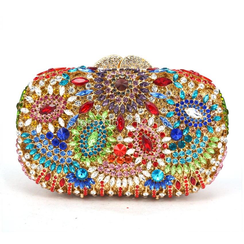 ФОТО Luxury Crystal Clutches Evening Bag Box Shape Party Bag Women Wedding Bag Chain Handle Shouler Bag (88304-A)