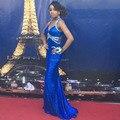 Turcos Vestidos de Noche Vestidos Largos Para La Fiesta de Boda de Lentejuelas Azul Real Vestidos de Baile Crystal Sexy Vestidos de boda Africano cerimonia donna