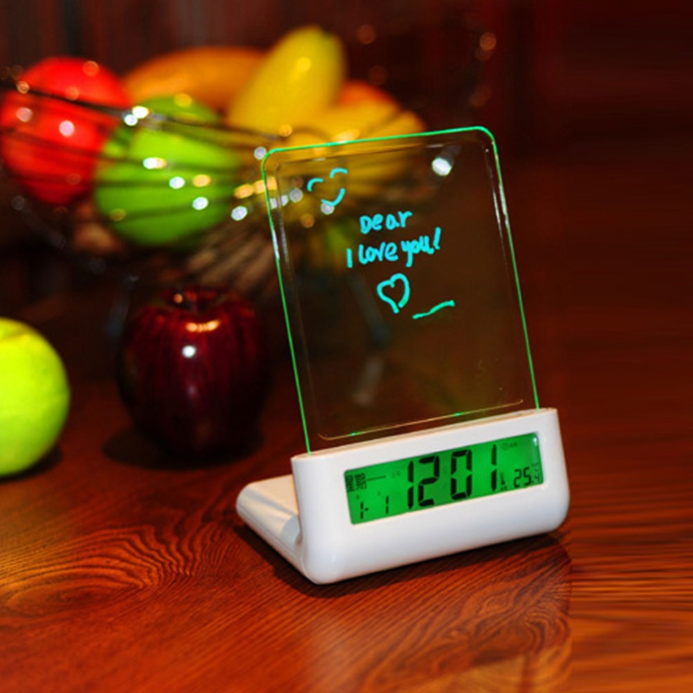 New Arrival Transparent Tablet LCD Digital Alarm Clock Message Board Clapping Voice Control Backlight Note Lighting Decor Alarm