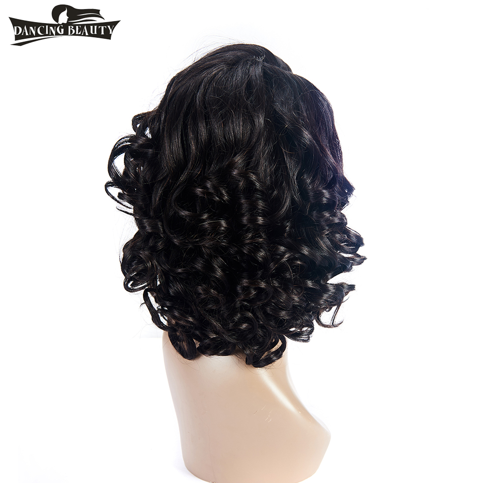 DANCING BEAUTY Short Lace Front Human Hair Wavy Wigs Brazilian Non Remy Hair L Part Lace Wigs 1B Color For Women 1 Piece
