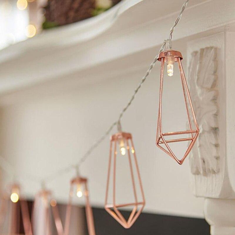 1.523 Meter Metal Lanterns Lamp Rose Gold Light String Garland Battery Powered Backyard Wire Light for Christmas Outdoor Decor (12)