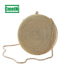 купить Round personality female clutch bag ladies chain shoulder messenger bag hand-woven Messenger bag dinner party handbag purse дешево