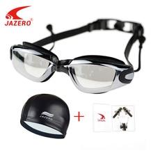 JAZERO Men Women Swimming Goggles Professional Anti Fog Swim Eyewear Electroplate Waterproof Glasses With Earplugs Pool Hat