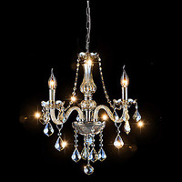 3 Lights Mini Crystal Chandelier In Cognac Color Glass Crystal