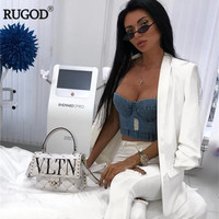RUGOD Summer Fashion Cropped Top With Chest pad Women Ripped Hole Denim Tank Top Sexy Backless Beach T Shirt Camis Harajuku