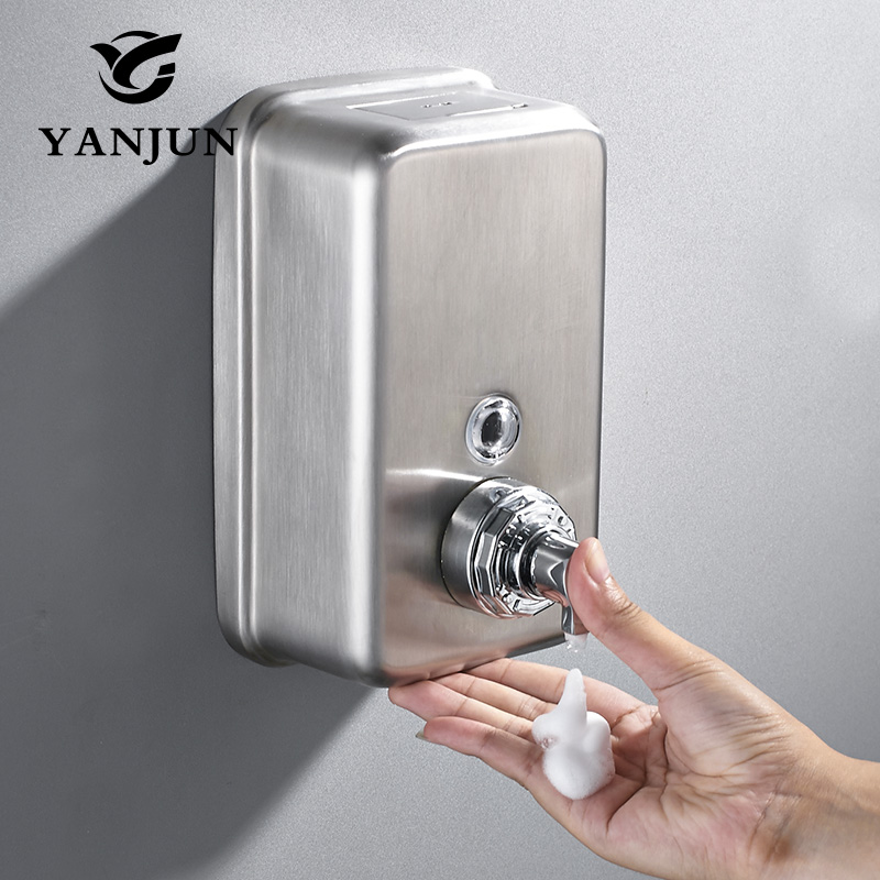 Yanjun Wall Mounted Bathroom Hand Shower Head Pump Dispenser 304 Stainless Steel Hand Foam Soap Dispenser