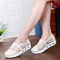 2016 Spring Summer Women Flat Shoes Women Breathable Mesh Casual Shoes Fashion Platform Heel Ladies Lace Shoes Zapatos Mujer