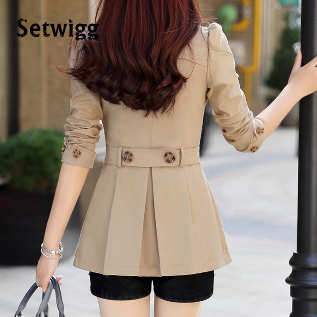 SETWIGG Korean Solid Trench Coat for Women Spring Double-breasted Collar Band Slim Md-length Female Trench Autumn Outwear Coat
