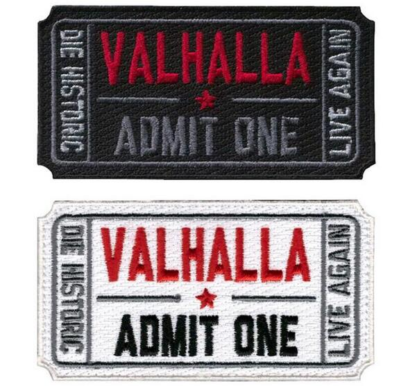 Biljett till Valhalla Militära Patches Mad Max Broderade Moral Tactical Vikings Armband Badges Appliques for Clothes
