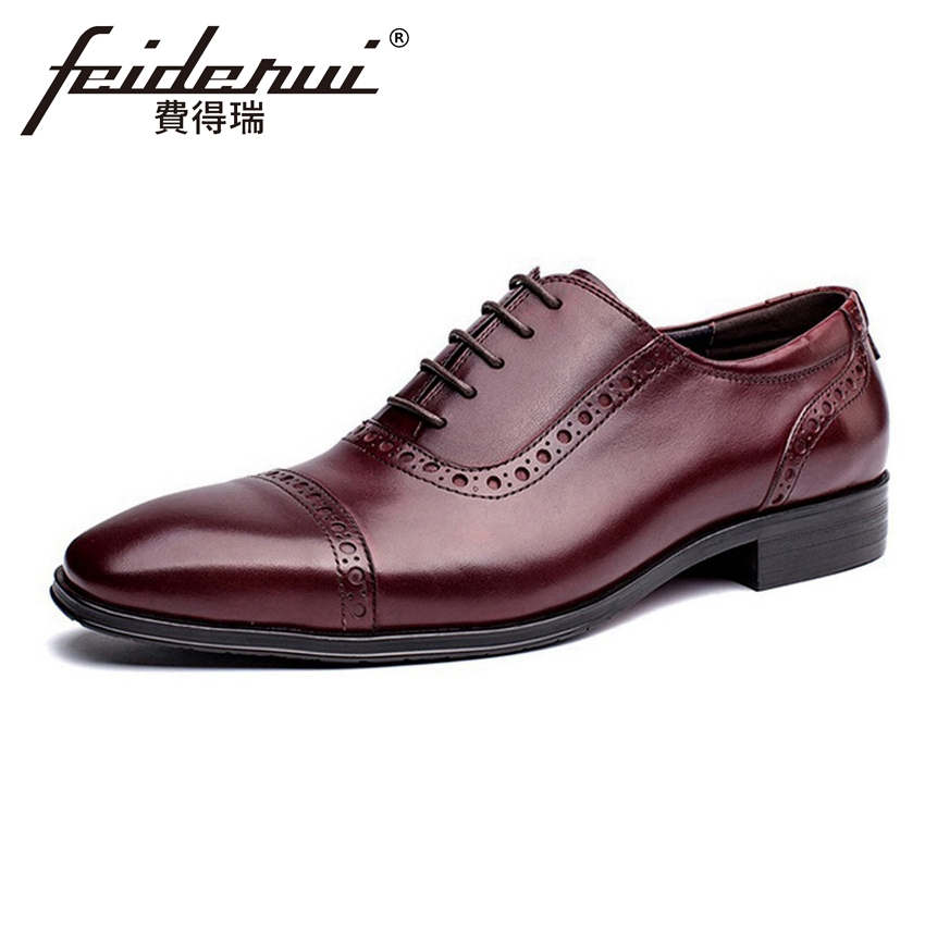 Formal Dress Genuine Leather Men's Oxfords Round Toe Handmade Male Office Party Flats British Style Brogue Shoes For Man HMS49 mens genuine leather oxfords shoes for men breathable stitching dress shoe british style casual flats oxford pointed toe zapatos