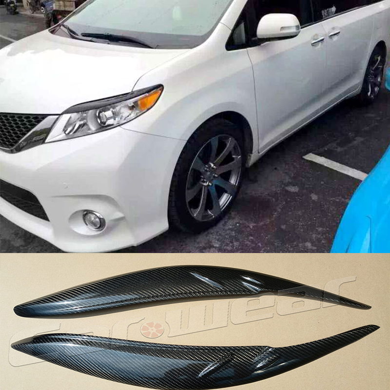 Sienna Carbon Fiber Car Headlight Eyelid Eyebrows Cover Trim Sticker for Toyota Sienna 2010-2015 сапоги sienna