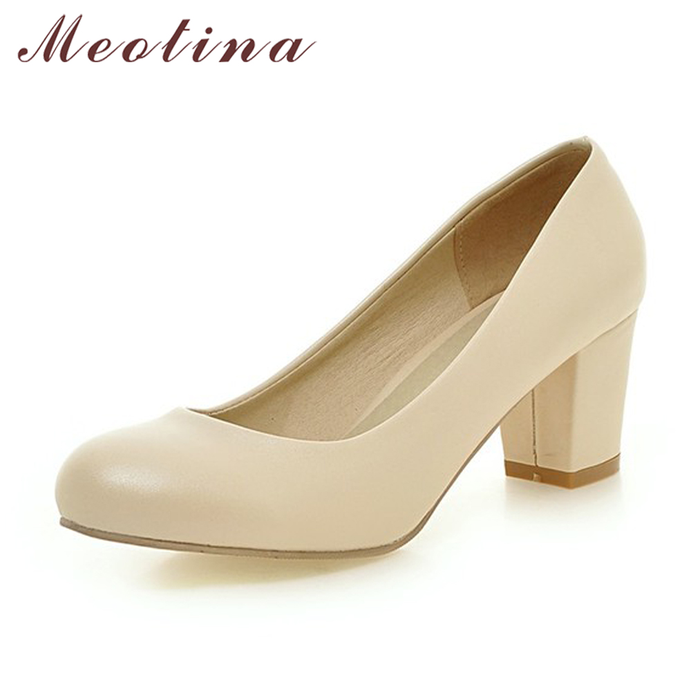 Meotina Women Shoes High Heels Round Toe Office Work Shoes Chunky Heels Women Pumps Ladies Shoes Beige Large Size 9 10 42 43 цены