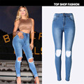 2016 Women's Slim Vintage Denim Dark Light Blue Jeans Casual Stretch Skinny Female Hight Waist Elastic Pants Plus Size