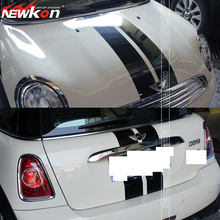 Mini Cooper doble racing stripe decal rayas hood y posterior capó etiqueta engomada del coche decal