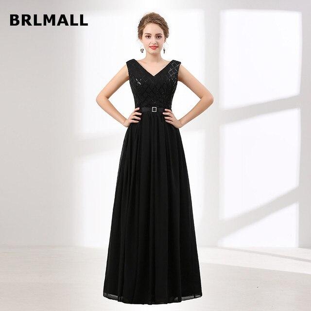 2018 Simple Black Bridesmaid Dresses Custom Made Chiffon V Neck Lace ...