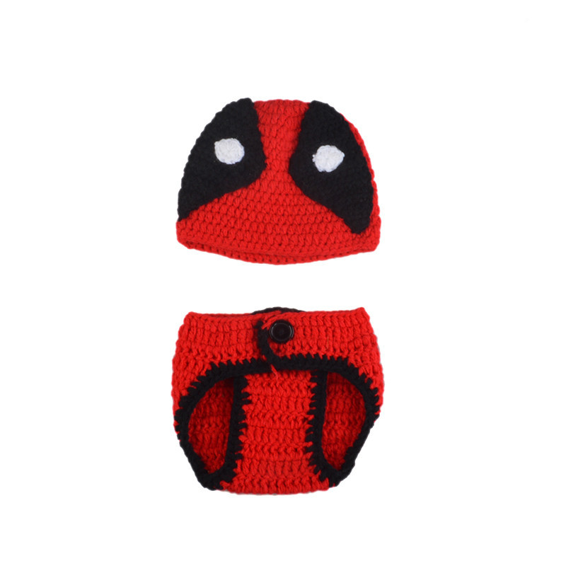 Infant Baby Boys Crochet Deadpool Set For Photography Knitted Baby Cartoon  Costume Newborn Fotografia Props Hat and Diaper Set-in Hats   Caps from  Mother ... 04c71570718