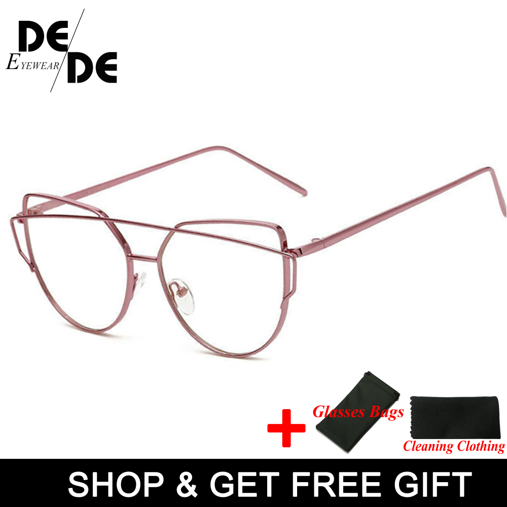 Hot Newest Cat Eye Glasses Frame Women Brand Designer Twin Beams Metal Eyeglasses Frame Clear Fashion Glasses Drop Ship in Women 39 s Eyewear Frames from Apparel Accessories