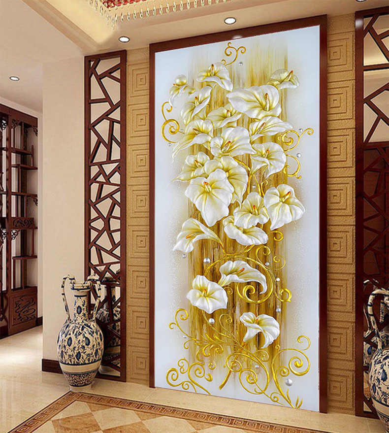 Needlework,DIY Cross stitch,Sets For Embroidery kits,Floral Gold Lily Flower Pattern Printed Scenic Cross-Stitch,Wall Home Decro
