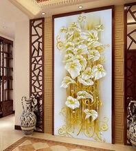 Robótki, majsterkowanie ściegiem krzyżykowym, zestawy do haftu, kwiecista złota kwiat lilii wzór nadrukowany sceniczny haft krzyżykowy, ozdoby do domu na ścianie