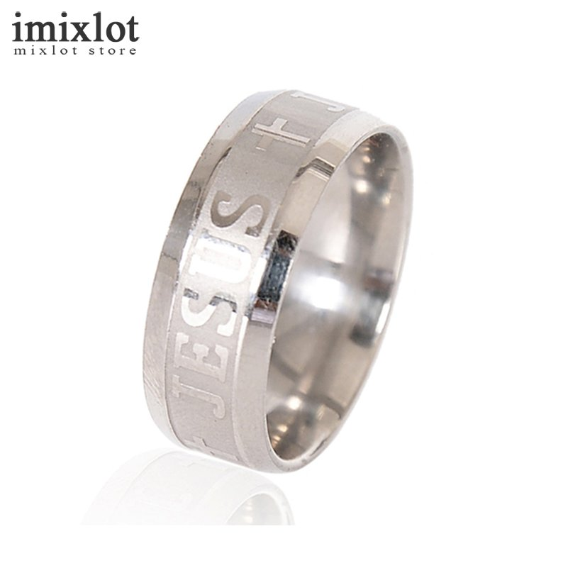 8MM Jesus Cross Stainless Steel Rings Men Jewelry Anillos de acero inoxidable Anel dos homens