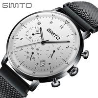 GIMTO Luxury Brand Men Watch Steel Waterproof Date Clock Quartz Chronograph Male Military Casual Sport Watches