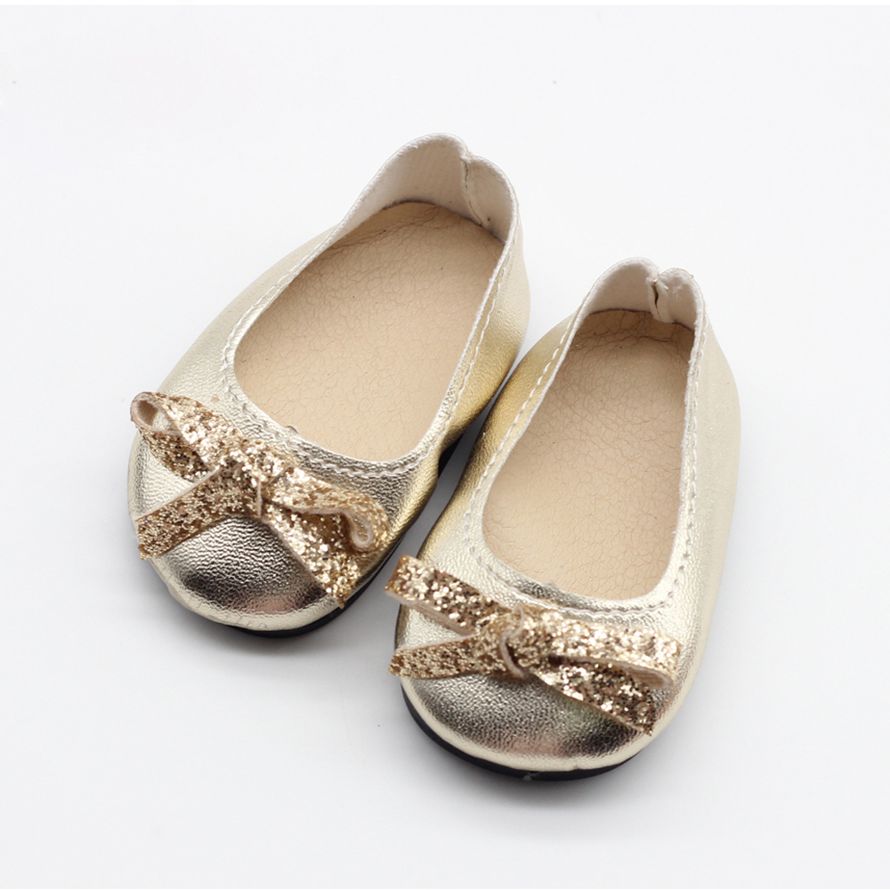 Golden Sequins bowknot Shoes Wear For 43cm Baby Born zapf doll fit 18inch American Girl dolls