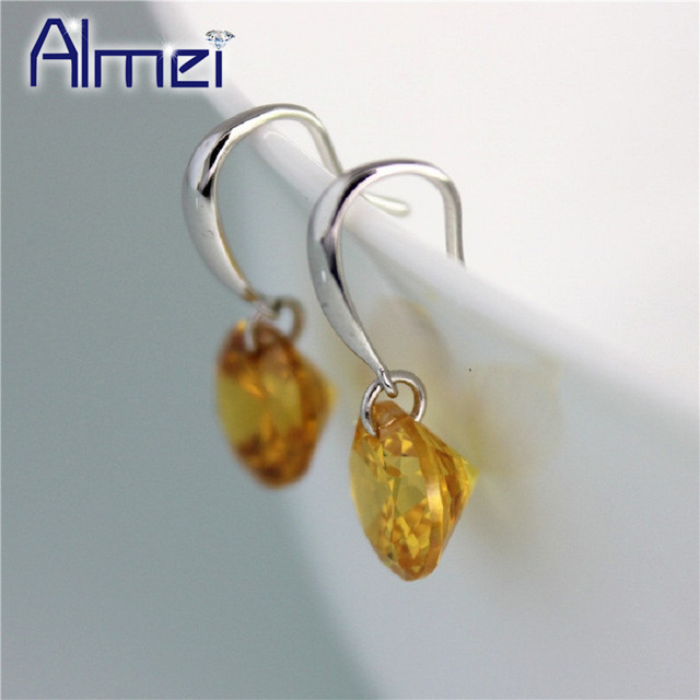 Almei 2017 Jewelry Fashion Crystal Small Dangle Red Yellow Zirconia Earrings for Women Bridal Wedding Drop Earring Brincos Y047
