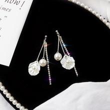 Earrings 2019 Korean for Women Pearl Shell Shape Tassel Long Earings Fashion Jewelry Drop