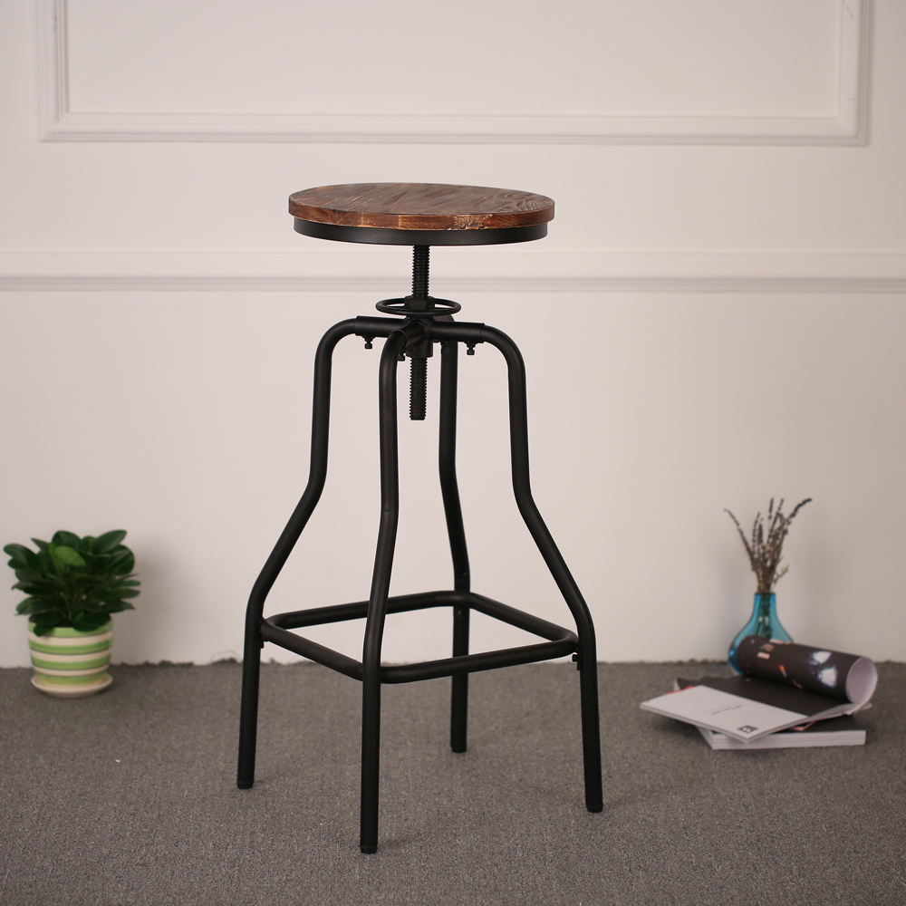 iKayaa Vintage Industrial Style Height Adjustable Swivel Bar Stool Natural Pinewood Top Kitchen Dining Breakfast Chair