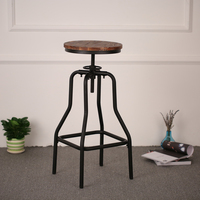iKayaa Vintage Industrial Style Height Adjustable Swivel Bar Stool Natural Pinewood Top Kitchen Dining Breakfast Chair
