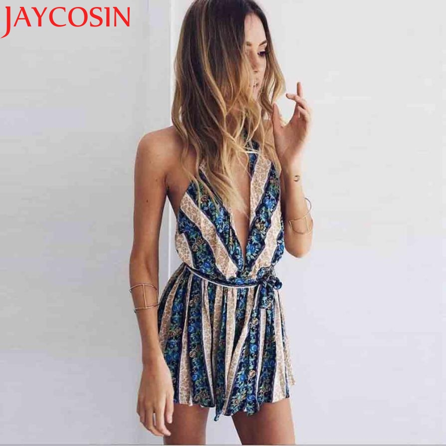 2017 Womens Summer V Neck Backless Printing Mini Playsuit Causal Jumpsuit Z717