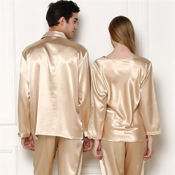 Online Shop Couple Pajamas Silk Sleepwear Embroidery Men Summer ...