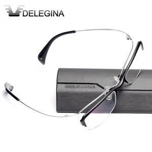 Image 2 - Luxe Titanium Frame Glas Half Velg Gothic Optische Brillen Frames voor recept bijziendheid leesbril