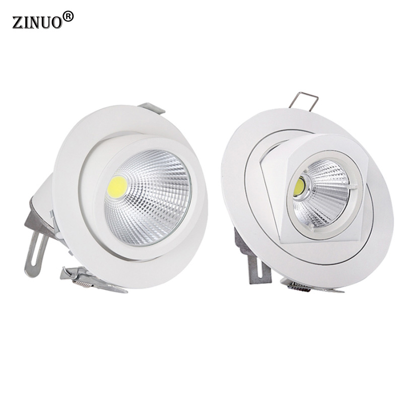 ZINUO 10W 15W COB Led Downlights Recessed Ceiling Spot Light 360 Degree Adjustable Ceiling Downlight For Home Office AC85-265V 10w 15w 20w 30w 50w cob led downlights surface mounted ceiling spot light 360 degree rotation ceiling downlight white ac85 265v