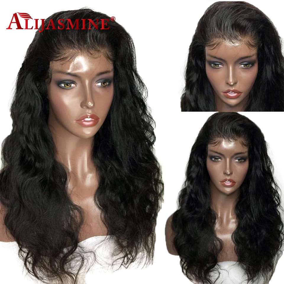 AliJamine Hair Brazilian Body Wave Full Lace Human Hair Wigs With Baby Hair Remy Lace Wig